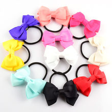 20pcs/lot New Girls Tie Up Hair Bands 8CM Ribbon Bowknot With Slim Black Bands Kids Hair Beauty Flowers Headwear FS10(China)