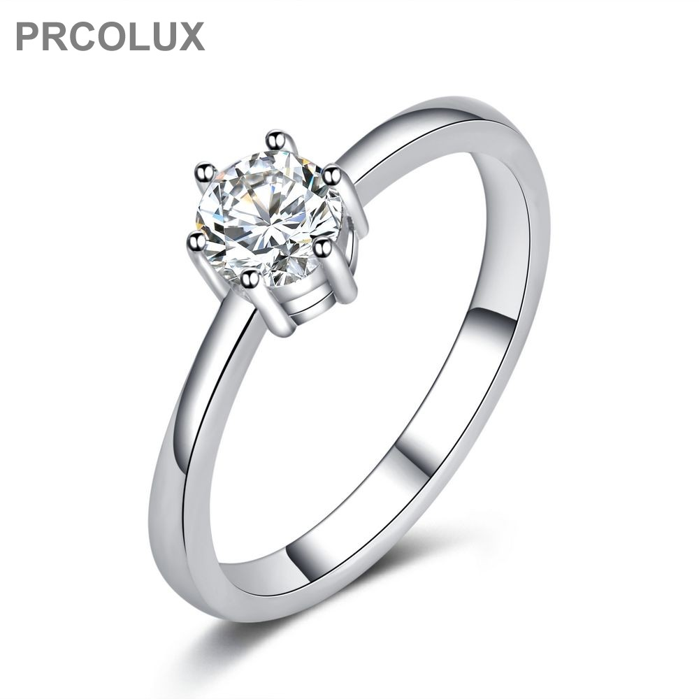 Prcolux Fashion Wedding Rings For Women Whit Cz Solitaire 925 Sterling Silver  Engagement Ring Female Finger