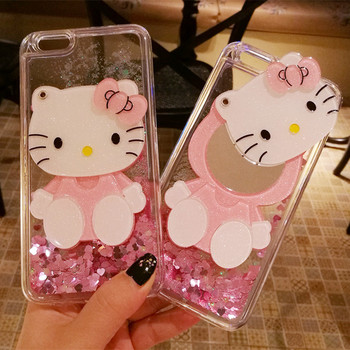 3D move For iPhone Xs /xsmax case cute bling love liquid for iPhone 8 7 6 6s plus pink shell / hang neck strap for iphone 8 plus