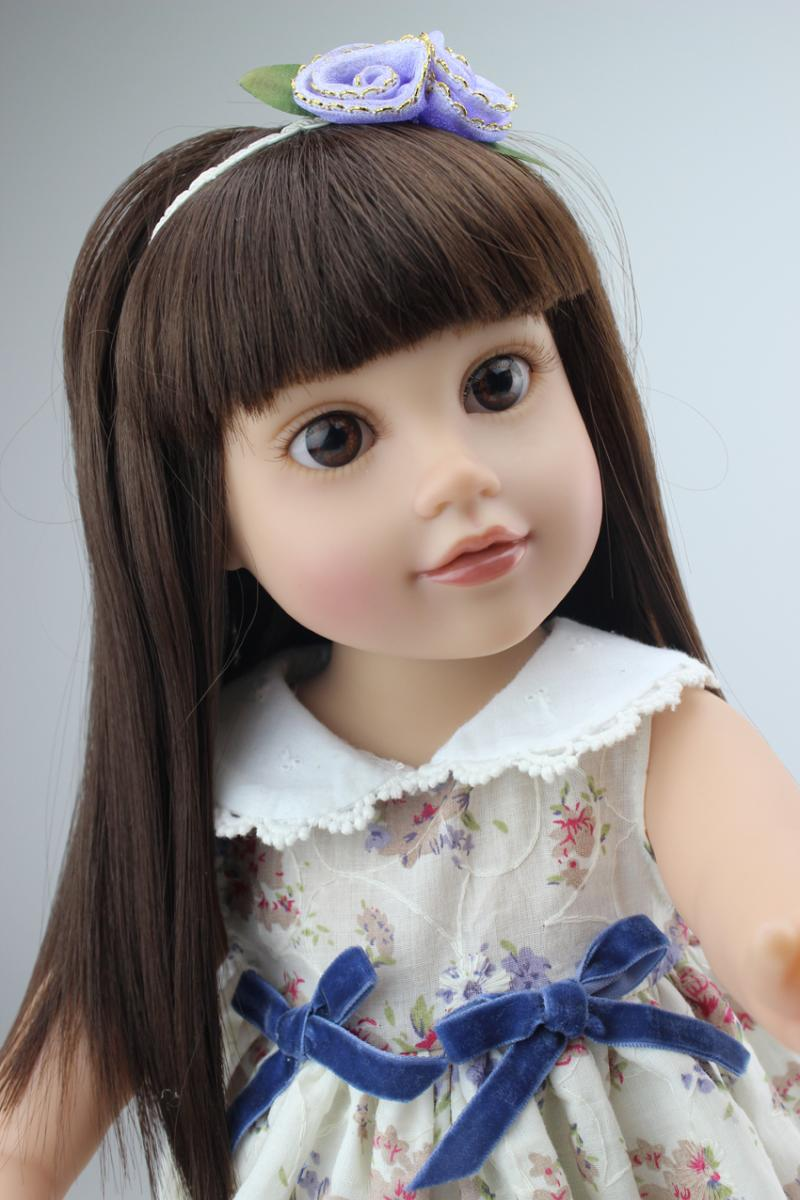 18 High Quality Lovely Journey Girl 45cm American Girl Doll Lifelike Baby Toy for Children Princess Bobbi Dress Girl Toy Doll christmas costume dress for 18 45cm american girl doll santa dress with hat for alexander doll dress
