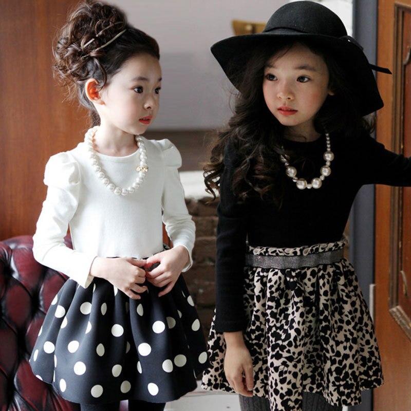 9fe3bc398 الأطفال الربيع فساتين 2019 كم طويل ليوبارد طباعة فتاة ملابس الاطفال الخريف  الأميرة فساتين ل 3 إلى 13 سنوات طفل عمره