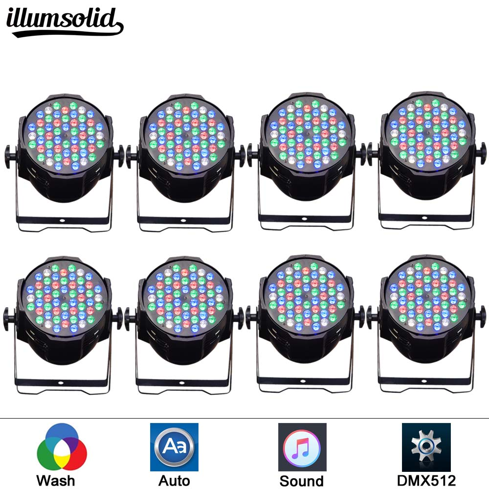 8pcs/lot Lighting Par Led DJ PAR 54x3W LED Light 8CH RGBW PAR 64 DMX512 DJ Stage Party Show Birthday Decoration8pcs/lot Lighting Par Led DJ PAR 54x3W LED Light 8CH RGBW PAR 64 DMX512 DJ Stage Party Show Birthday Decoration