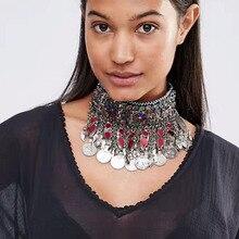 Ladyfirst 2016 Nueva Joyería Grande de La Manera Maxi Gargantillas Coin Largo Metal Multicolor Boho Borla Collar de la Declaración Para Las Mujeres 3983