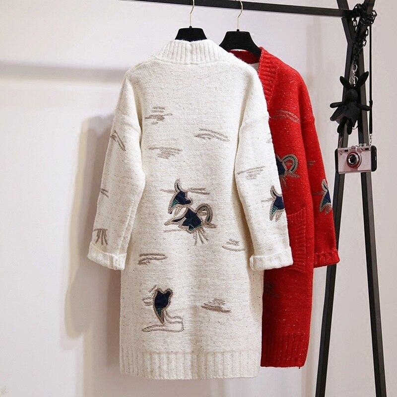2018 осенний и новый узор, вязаный, без подкладки, верхняя одежда, женский свитер кардиган, платье, пальто, корейская вышивка, мода