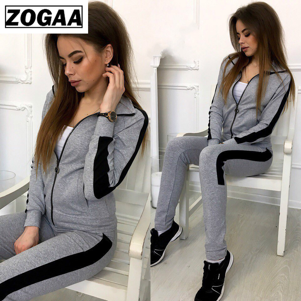 Zogaa 2019 New Women Outfits Two Piece Set Top And Pants Sportswear Tracksuit Women's Sweatsuit Fashion Clothing Sets Clothes