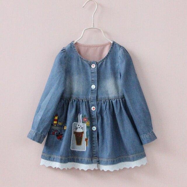 2017 Nueva ropa de La Muchacha para las muchachas embroma la ropa vestido bordado jean de mezclilla vestido de los niños vestidos de encaje