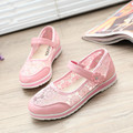 Children's casual shoes breathable mesh face sports shoes girls summer sandals blue pink girl lace princess flat-bottome shoes