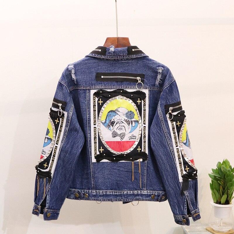 Blu 2018 Hop Autunno Della Outwear Femminile Giacca Splice Hip Studente Donne Dei Stampato Jeans Cappotto Primavera Di Breve Chiusura Nuova Delle Lampo rYqaXr