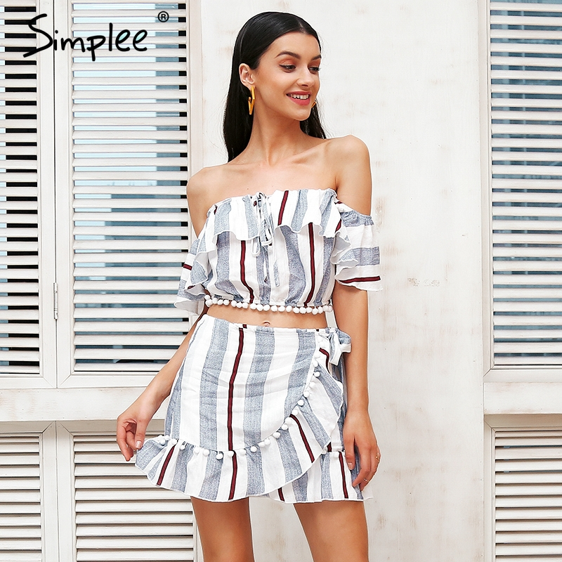 Simplee Off shoulder lace up two piece dress suit Women cropped stripe wrap short dress Summer style causal dress robe femme