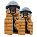 Men's 2017 autumn and winter thick hooded vest lapel 100% cotton down jacket suitable for young couples