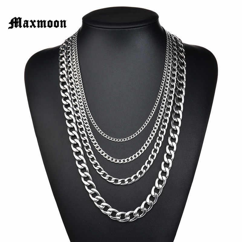 Maxmoon ne se décolore jamais 3mm/5mm/7mm/9mm/11mm en acier inoxydable chaîne cubaine collier étanche hommes lien gourmette chaîne cadeau bijoux