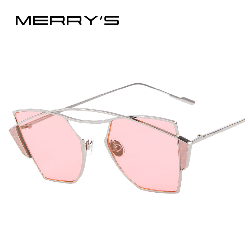 MERRY'S 2016 New Women Classic Brand Designer Twin-Beams Sunglasses Vintage Sun glasses Coating Mirror Flat Panel Lens S'8036