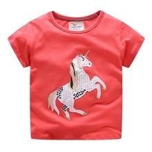 Red summer unicorn T shirt for girls new fashion kids 2018 sport  t shirt cotton  kids Tees tops children clothing 2-8T
