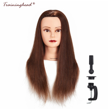 "Träningshuvud 24-26 ""100% Människohår Makeup Mannequin Head Training Doll Head Kosmetologi Brown Hair Manikin Head High Quality"