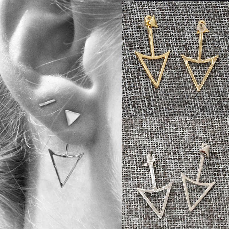 シンプルな合金矢印中空三角形アンカーゴールデンシルバースタッドピアス女性ファッションジュエリー