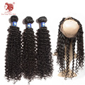 New Product Pre Plucked 360 Lace Frontal With Bundles Brazilian Deep Curl Virgin Hair 4Pcs/Lot  With 360 Closure Free Shipping