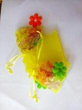 2000 unids amarillo del regalo del organza bolsas 11×16 cm bolsos de fiesta para las mujeres evento casarse bolso de Lazo de Exhibición de La Joyería bolsa de Bolsa de accesorios de bricolaje