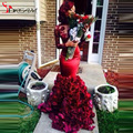 2016 Best Selling O-neck Long Sleeves Sexy Vintage Mermaid Wine Red Long Handmade Flowers Real Picture Celebrity Cape Dresses