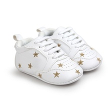 2017 Baby Shoes Newborn Boys Girls Heart Star Pattern First Walkers Kids Toddlers Lace Up PU Sneakers 0-18 Months