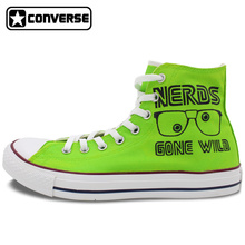Bright Green Sneakers Converse All Star Nerds Gone Wild Cube Design Custom Hand Painted Shoes High Top Sneakers Woman Man