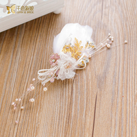 Gorgeous white feather hairgrips pinzas para el cabello flor perla frente girl fascinator casco de la novia accesorios de la boda yingmei
