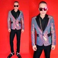 Ночной клуб певец DJ красочные фиолетовый блейзеры костюм мужская одежда костюмы Этап Показывать юбка для вечеринок и танцев