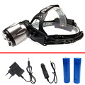 Waterproof strong light headlamp xml-t6 led rechargeable headlight aluminum focus head flashlight,18650 battery,EU/US/UK charger
