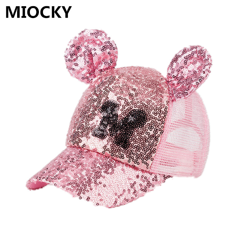 Baby Summer Hat Sequin Children Baseball Cap Mouse Ear Gillter Kids Sun Hats Casual Girls Snapback Hip Hop Caps D0884 men women high quality snapback motorcycle trucker hats motor racing cap f1 moto gp logo for ktm baseball cap embroidery hat