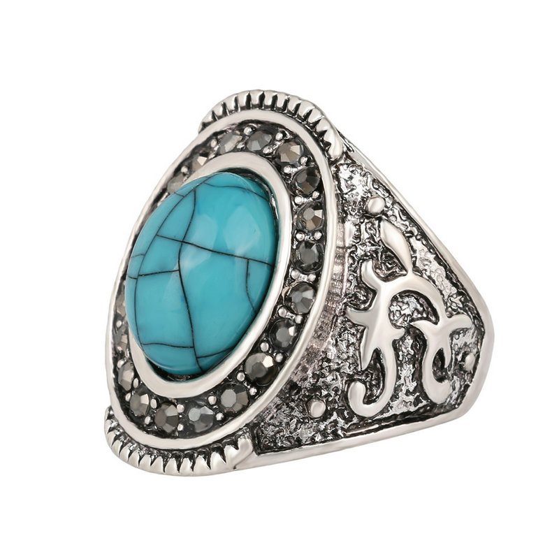 Fashion carved Resin Jewelry For Women Retro Tibetan Alloy Antique Silver Color Men Oval natural Rings Size 7 8 9 10