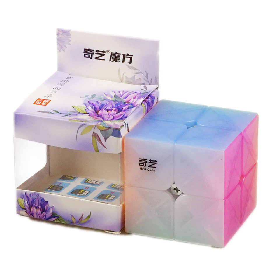 Qiyi 2x2 CUBE Jelly Color Stickerless 2x2x2 Magic Cube 2Layers Speed Cube Professional Puzzle Toys For Children Kids Gift Toy