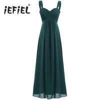iEFiEL Womens Vestido de festa Chiffon Dress Pleated Rural Long Dress Hidden Back Evening Party Prom Gown Female Elegant Dress
