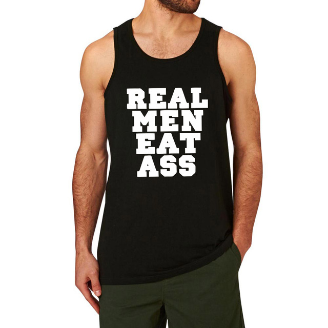 4d05e09dcf7837 Mens Real Men Eat Ass Funny Workout Graphic Cotton Tank Tops men-in ...