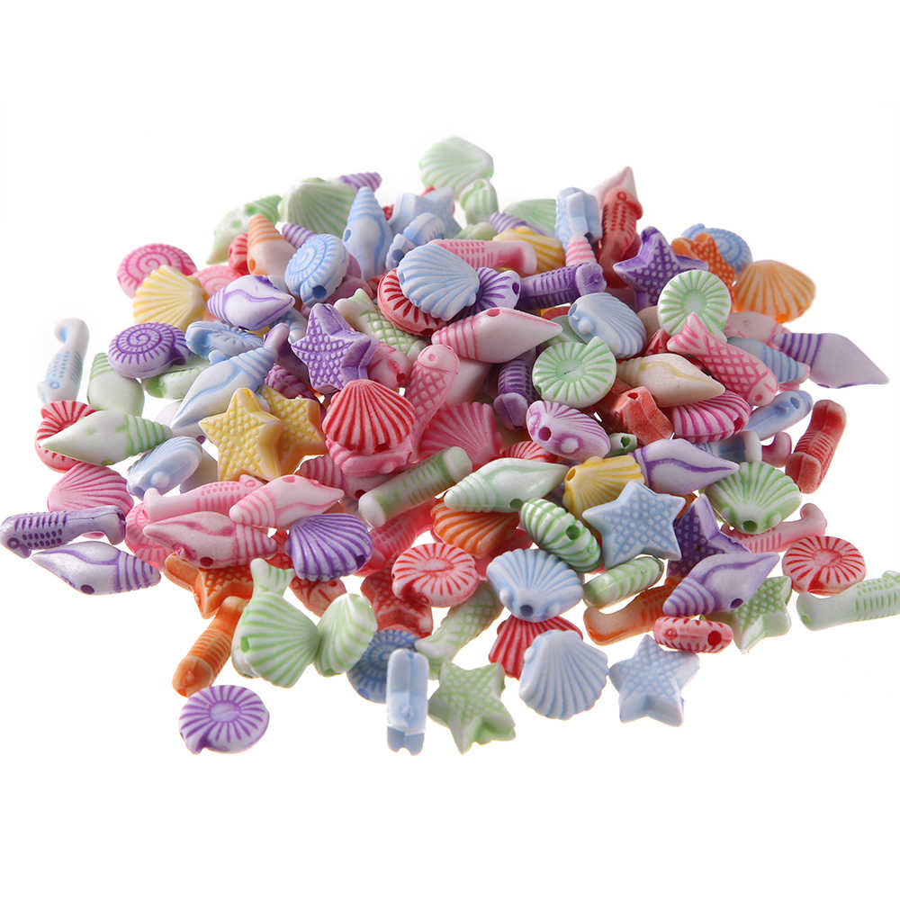 100pcs Mixed Color Acrylic Sea Animal Series Spacer Beads For Jewelry Making child DIY Bracelet Necklace Accessories