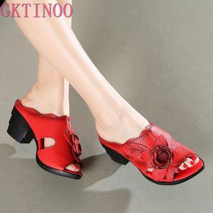 Gktinoo flor chinelos verão sapatos de couro genuíno artesanal slides peep toes salto alto feminino chinelo