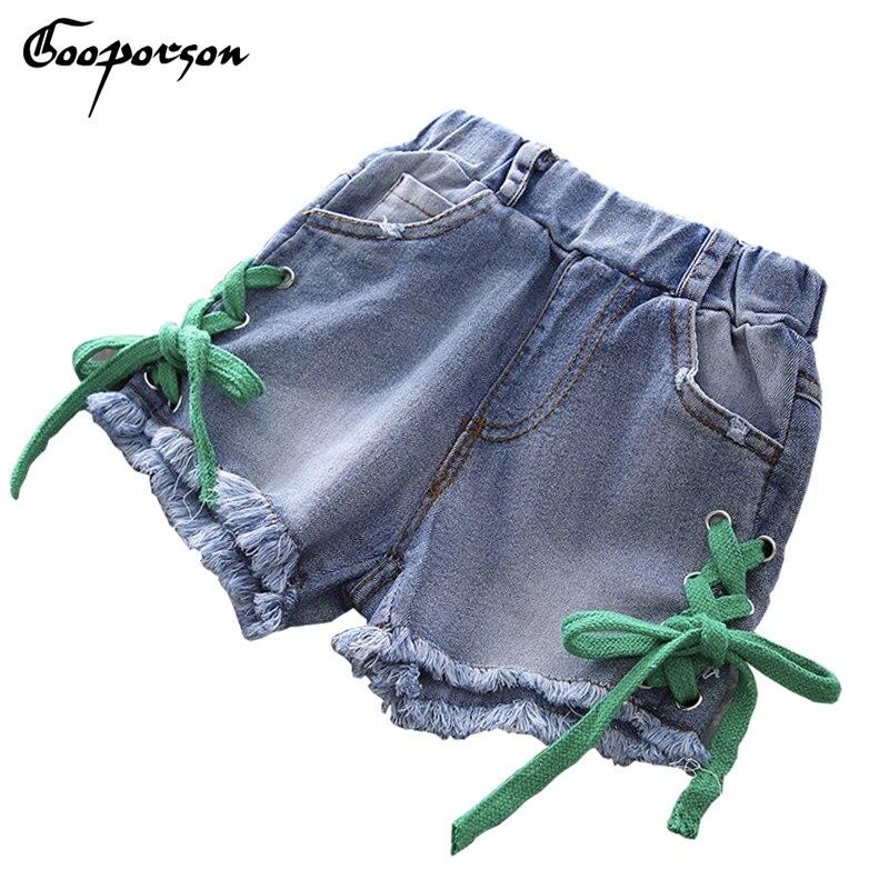 Calções de verão Meninas Listrado Crianças Menina Calças Jeans Curto Verão  Fresco Estilo para Crianças Sólida Básica Calças de Vestuário 3208a621c50b0