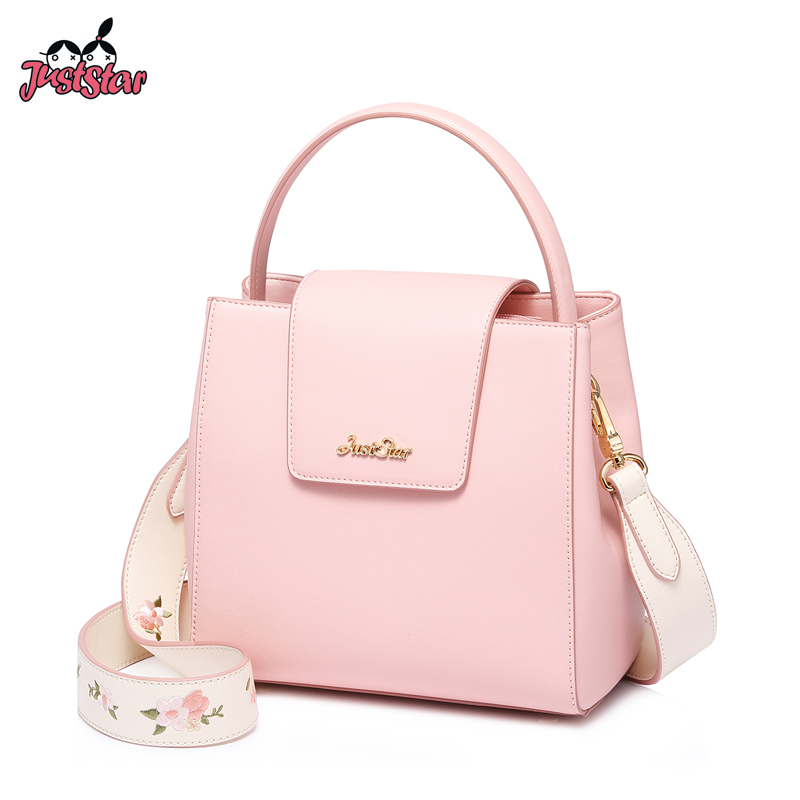 JUST STAR Women s PU Leather Handbags Ladies Fashion Flower Embroidery Tote Purse Female Width Shoulder