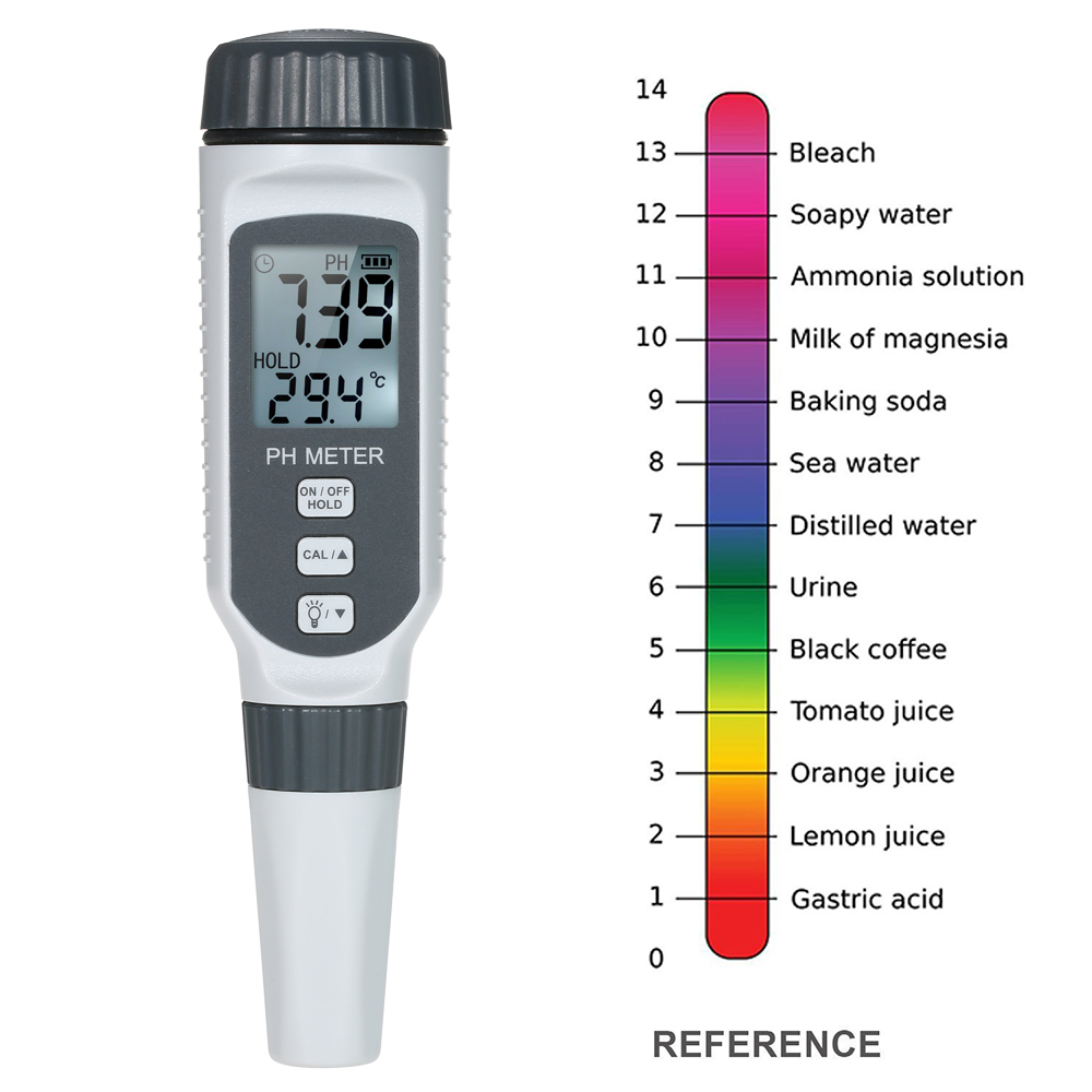 High Tech Portable medidor ph agua QualityPH Meter Pen For High Precision Digital Screen Indicator Digital With Blacklight PH818 in PH Meters from Tools