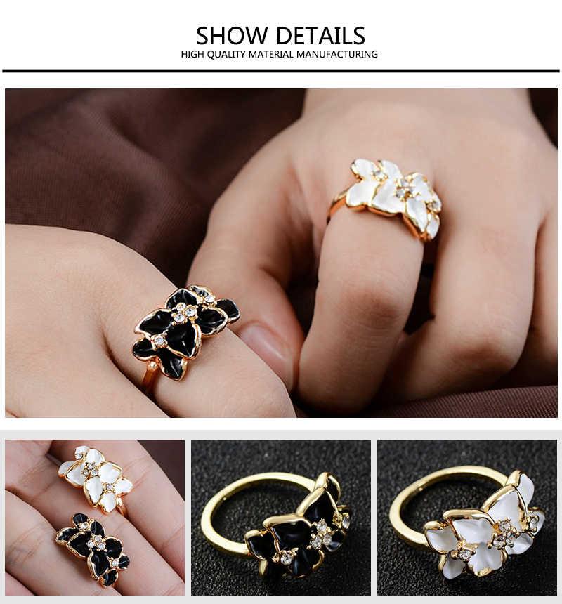 SHUANGR คุณภาพสูงสีดำสีขาว Camellia แหวน Rose Gold สีออสเตรียคริสตัลงานแต่งงานแหวน anillos