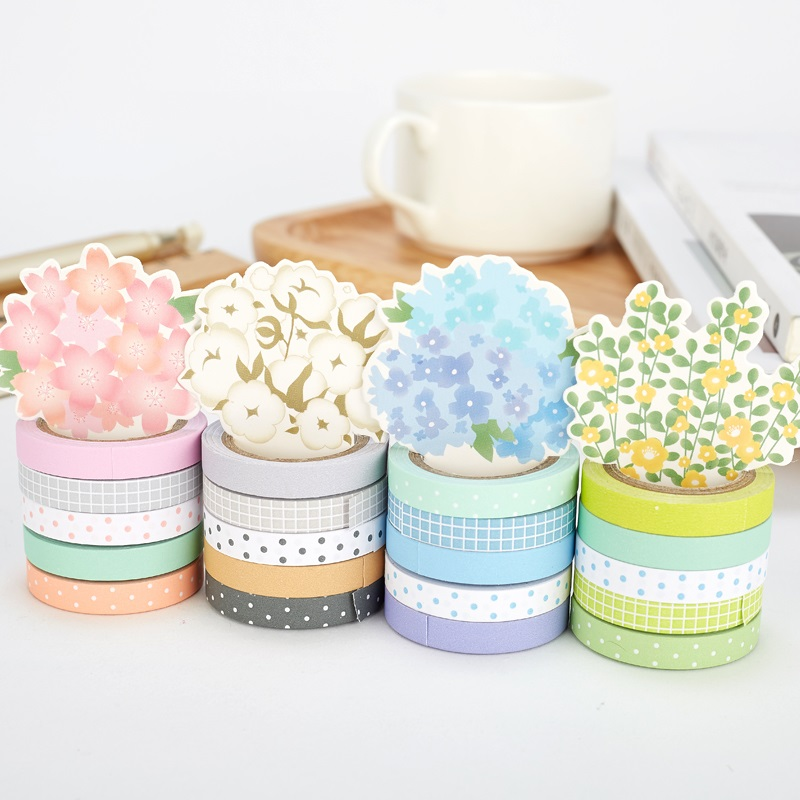 20 Pcs Potting Flower Paper Washi Tape Set 7mm Slim Decoration Tapes Dot & Plaid Diary Sticker Scrapbooking Stationery A6446