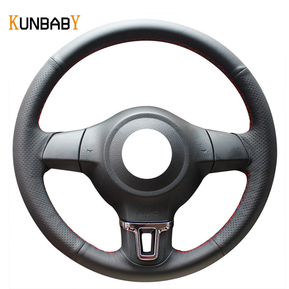 KUNBABY Color Black Red Genuine leather Car Steering Wheel Cover for Volkswagen Golf 6 Mk6 VW Polo MK5 2010-2013