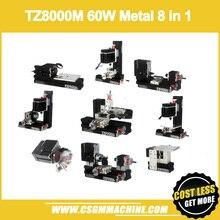 TZ8000M 60 W Металл 8 в 1 Мини-токарный станок с ЧПУ/60 Вт, 12000 об/мин камер Мгновенной Печати Mini 8 in1 комплект токарного станка/8in 1 металлический токарный станок/сверление, фрезерование, шлифовальный станок
