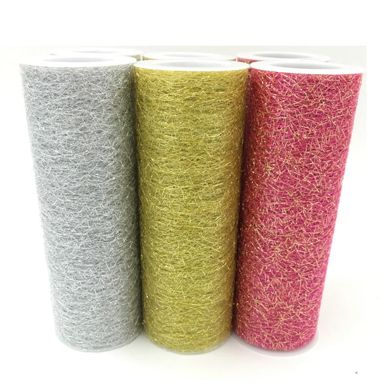Hot 15cm*5yards DIY gold silver tulle fabric roll wedding decoration organza spool birthday party decorations kids Baby shower