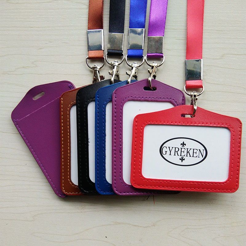 Name Credit Card Holders Women Men PU Bank Card Neck Strap Card Bus ID holders candy colors Identity badge with lanyard