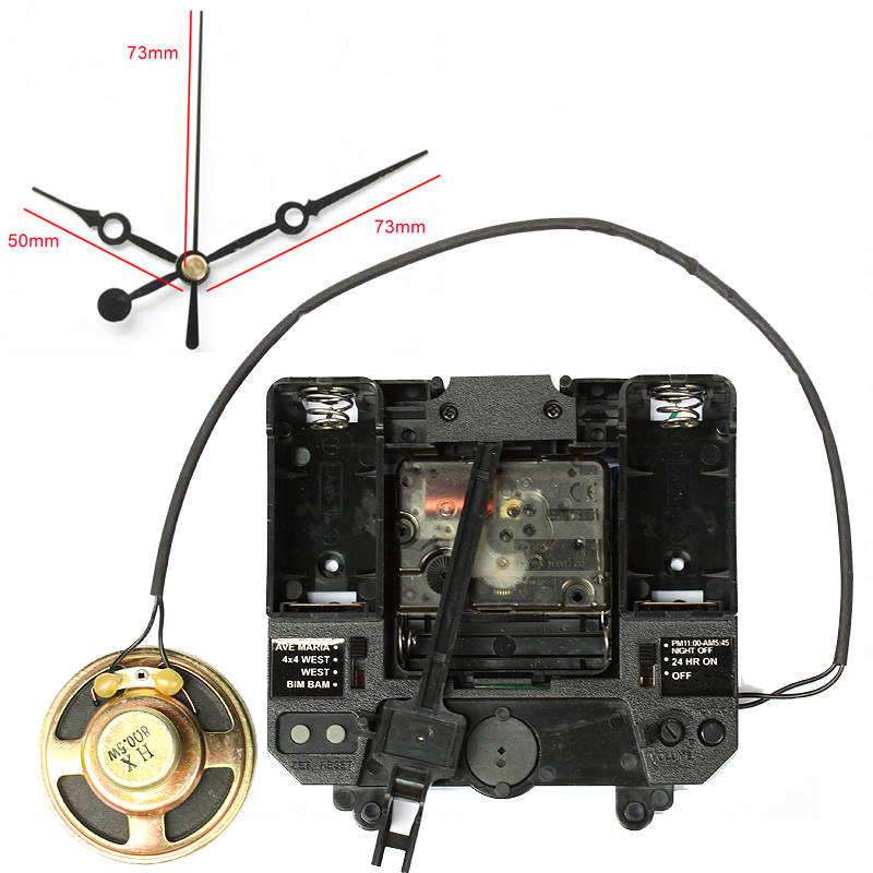 R Mouvement Silencieux avec Musique Carillon Boîte En Plastique À Quartz mécanisme avec 1 # mains Pendule unités d'entraînement DIY Horloge Accessoire kits