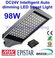 Intelligent Auto dimming DC24V 98W LED street light LED street lamp solar street light 3 years Warranty