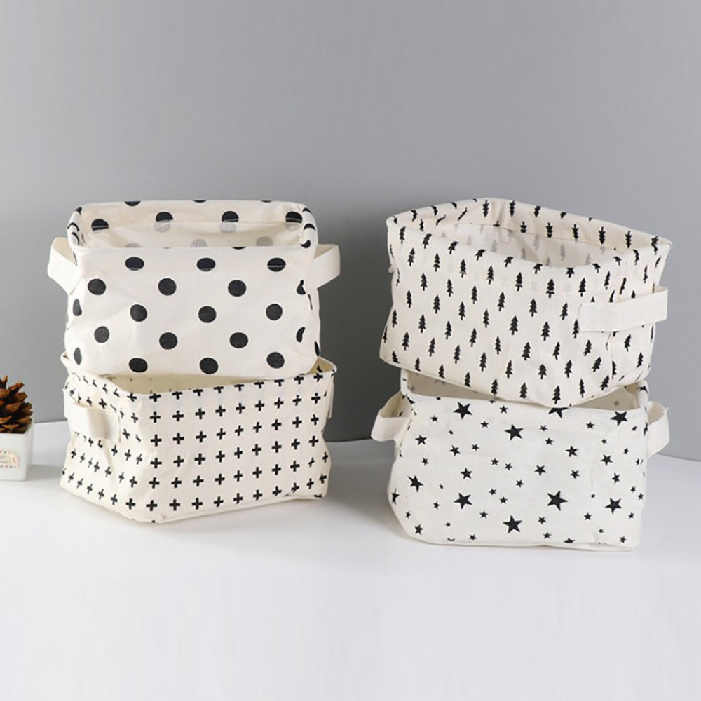 ISHOWTIENDA Cotton Linen Desktop Storage Basket Sundries