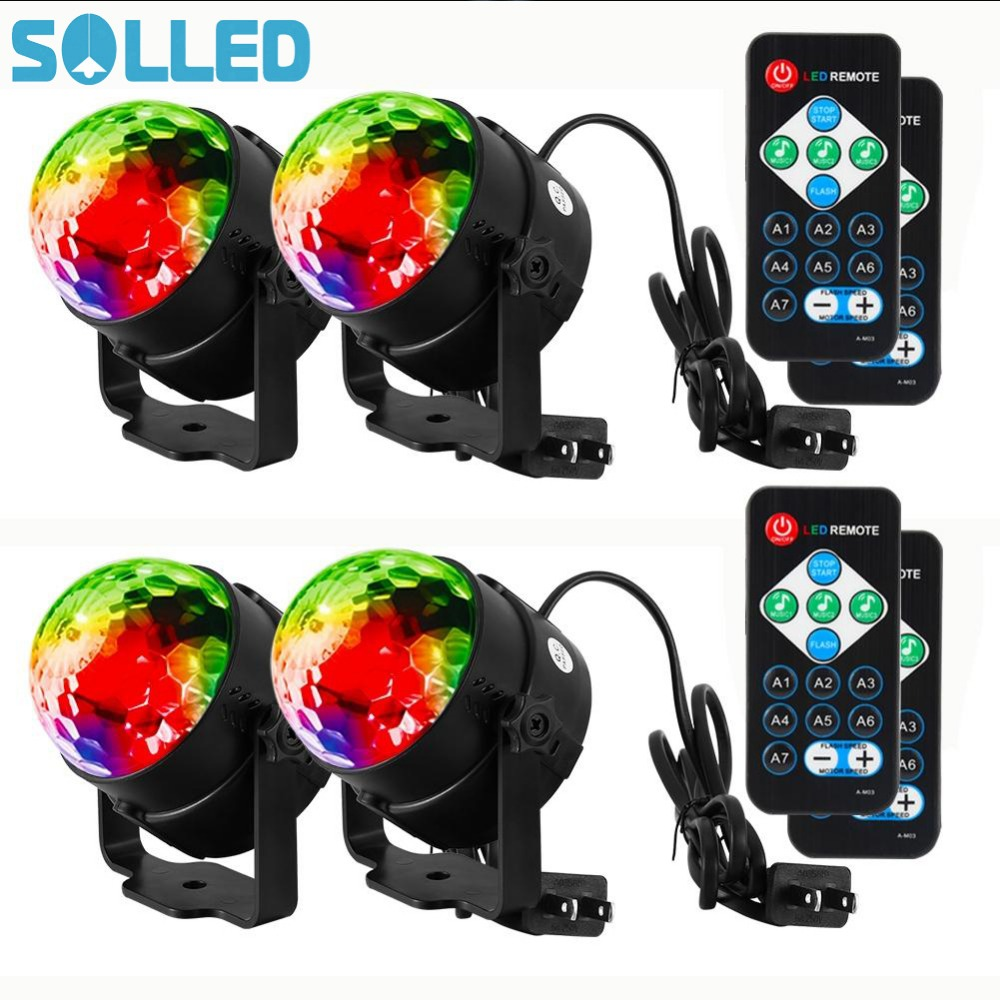 SOLLED 4PCS LED Disco Ball Light with Remote Control Portable Mini RGB Party Lamp 7 Colors Sound Actived Crystal Magic Stage