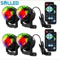 SOLLED 4PCS LED Disco Ball Light With Remote Control Portable Mini RGB Party Lamp 7 Colors