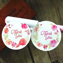 120pcs lot Rose Flower Thank you sealing label Adhesive Kraft Baking Seal Sticker gift stickers students