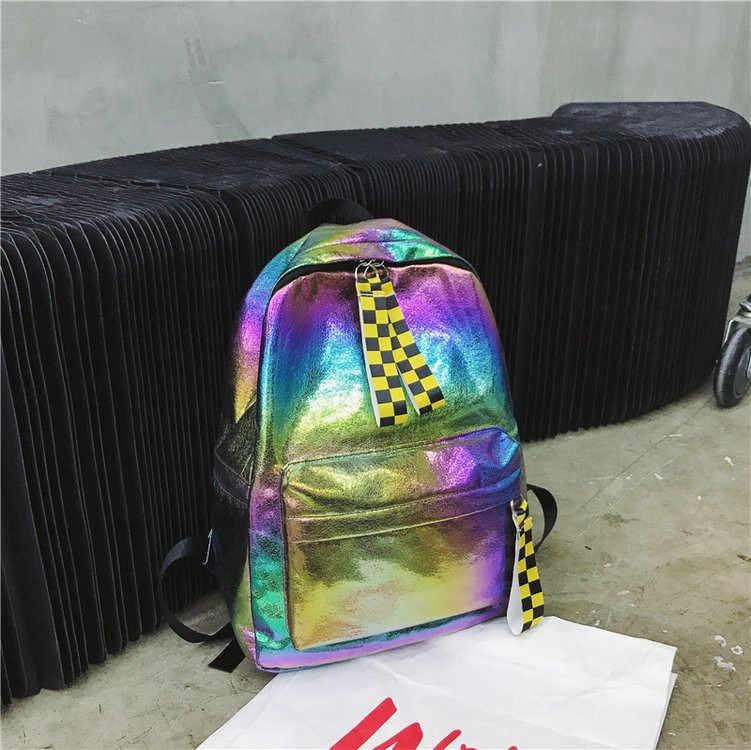 Kpop блестящие рюкзаки женские большой емкости школьный рюкзак для девочек дорожные сумки рюкзак для ноутбука модный градиентный цветной женский наплечный мешок
